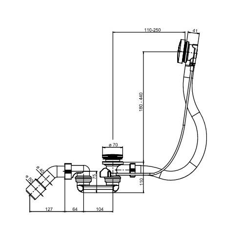 SANIT syfon wannowy model 830 100cm z cięgłem