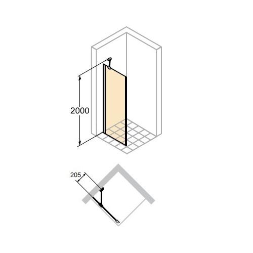 Hüppe Aura elegance 4-kąt ścianka boczna 80cm 400608.092.322
