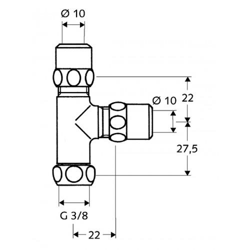 """SCHELL trójnik 3/8"""" z ruchomą nakrętką złączkową"""