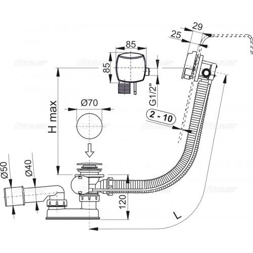 ALCAPLAST A564CRM1 100cm syfon wannowy z napełnianiem przez przelew