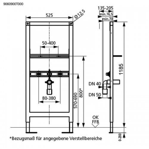 SANIT Stelaż umywalkowy umywalka 1185 mm 90.609.00 + wsporniki montażowe