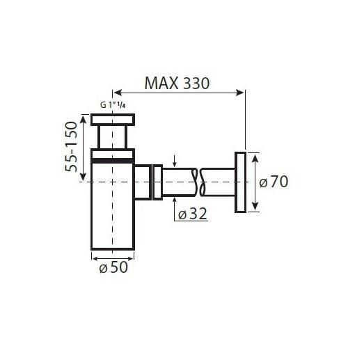 VEDO Syfon Umywalkowy mosiądz VSY1010 32 mm chrom