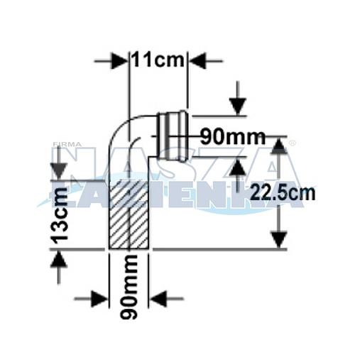 GEBERIT Kolanko odpływowe WC 90mm