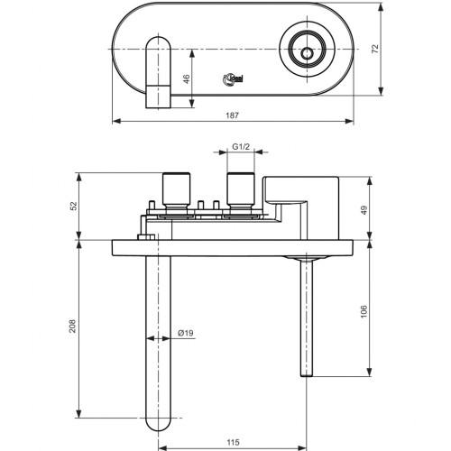 IDEAL STANDARD Bateria ścienna umywalkowa