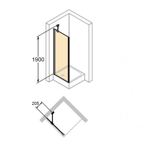 Hüppe Aura elegance ścianka boczna 80cm 400603.087.321