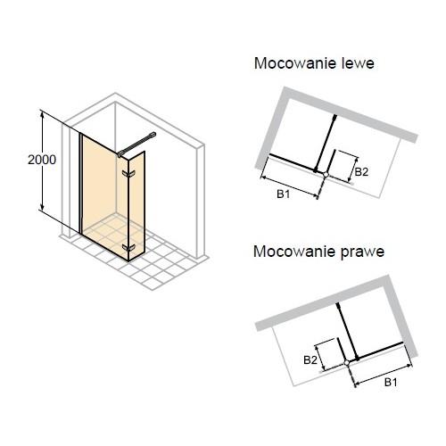 Hüppe Enjoy Elegance ścianka boczna Walk-IN z ruchomym segmentem 90 cm 3T1403.092.322