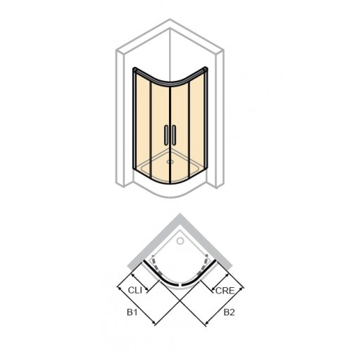 Hüppe Aura elegance półokrągła drzwi suwane 80x120 cm 402413.055.321